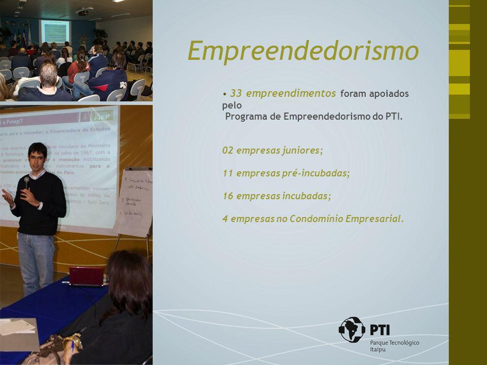 33 empreendimentos foram apoiados pelo Programa de Empreendedorismo do PTI. 02 empresas juniores; 11 empresas pré-incubadas; 16 empresas incubadas; 4