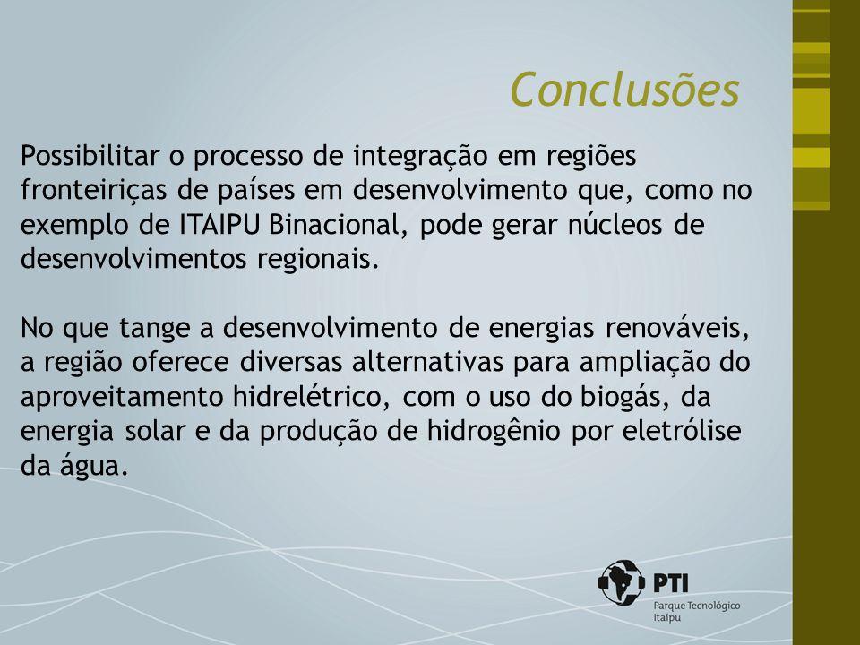 Conclusões Possibilitar o processo de integração em regiões fronteiriças de países em desenvolvimento que, como no exemplo de ITAIPU Binacional, pode gerar núcleos de desenvolvimentos regionais.