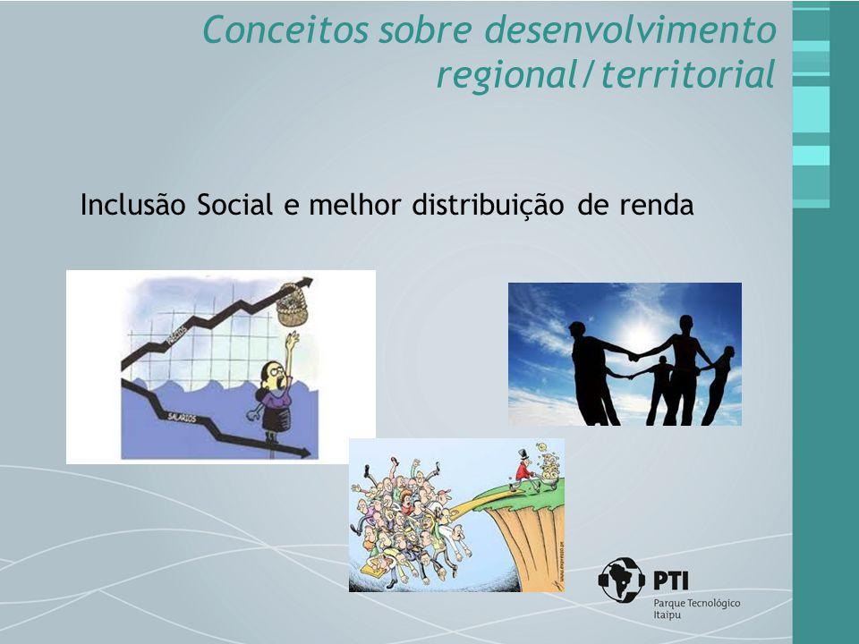 Inclusão Social e melhor distribuição de renda Conceitos sobre desenvolvimento regional/territorial