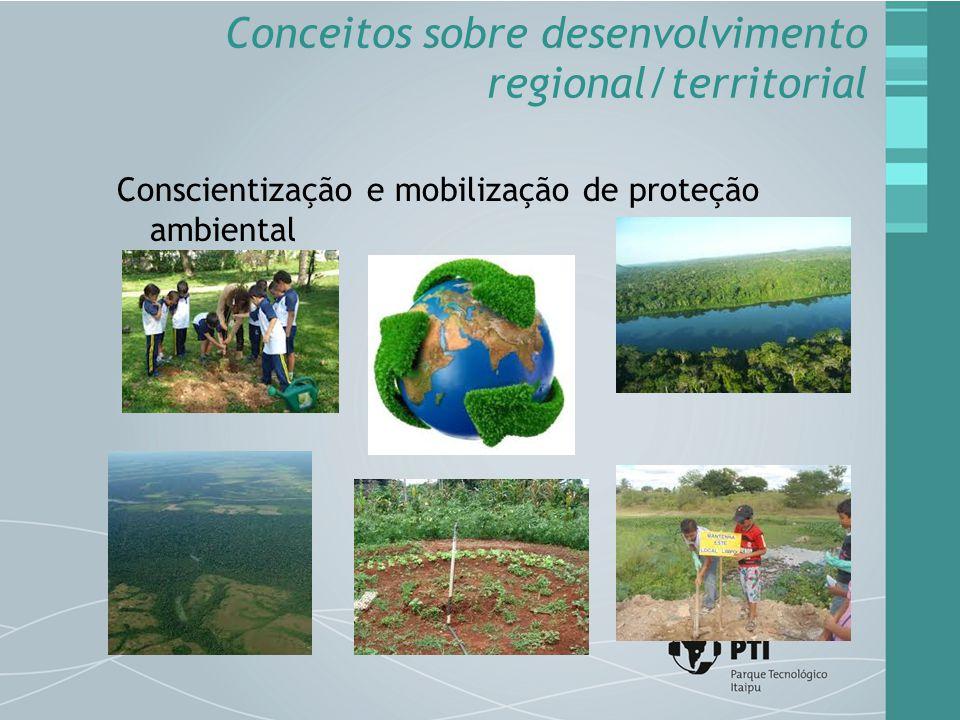 Conscientização e mobilização de proteção ambiental Conceitos sobre desenvolvimento regional/territorial