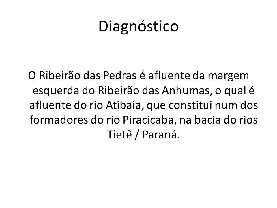 Diagnóstico O Ribeirão das Pedras é afluente da margem esquerda do Ribeirão das Anhumas, o qual é afluente do rio Atibaia, que constitui num dos forma