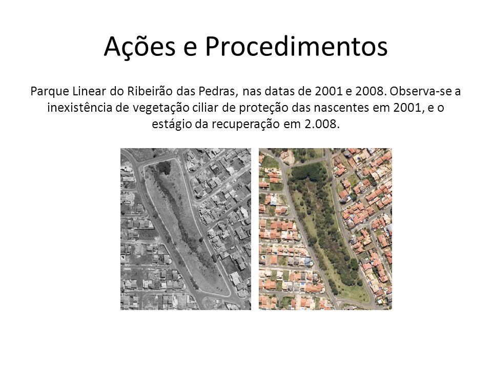 Ações e Procedimentos Parque Linear do Ribeirão das Pedras, nas datas de 2001 e 2008. Observa-se a inexistência de vegetação ciliar de proteção das na