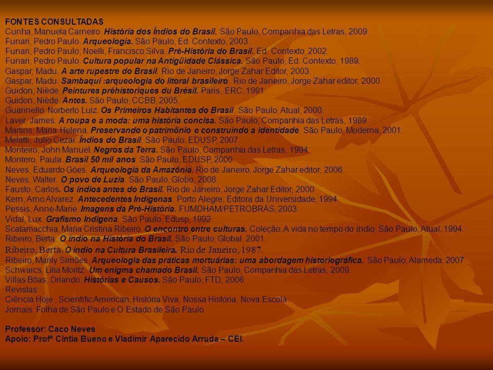 FONTES CONSULTADAS Cunha, Manuela Carneiro. História dos Índios do Brasil. São Paulo, Companhia das Letras, 2009. Funari, Pedro Paulo. Arqueologia. Sã