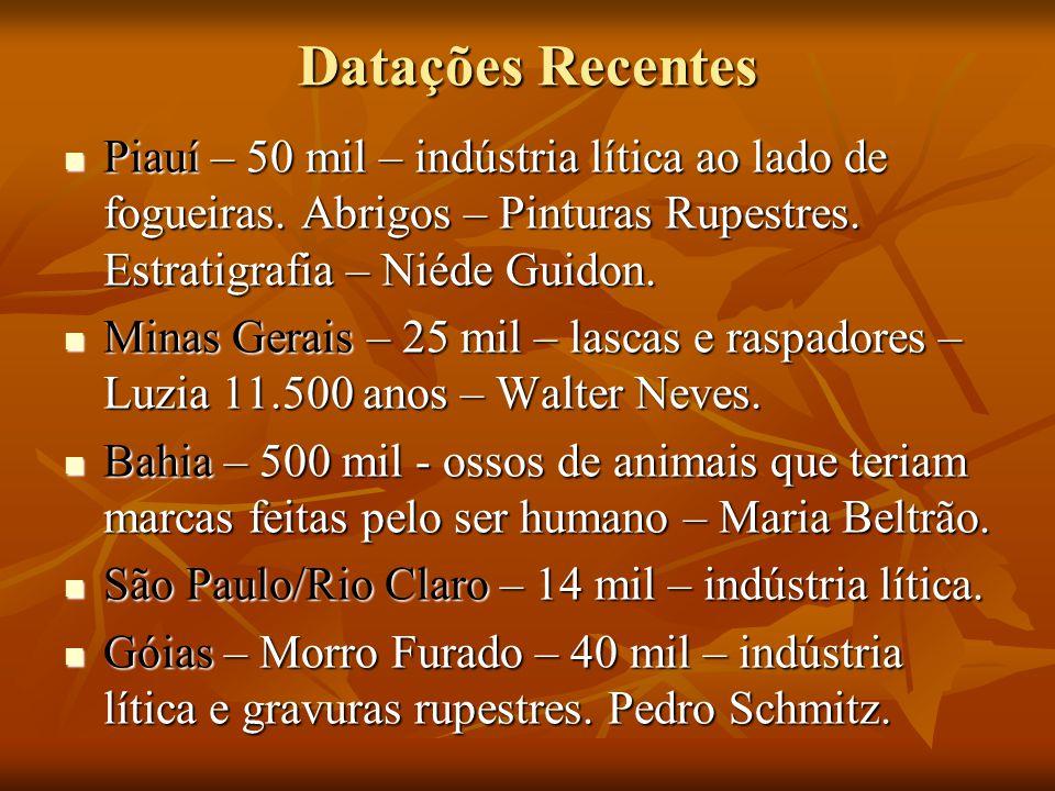Datações Recentes Piauí – 50 mil – indústria lítica ao lado de fogueiras. Abrigos – Pinturas Rupestres. Estratigrafia – Niéde Guidon. Piauí – 50 mil –