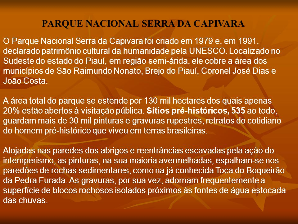 O Parque Nacional Serra da Capivara foi criado em 1979 e, em 1991, declarado patrimônio cultural da humanidade pela UNESCO. Localizado no Sudeste do e