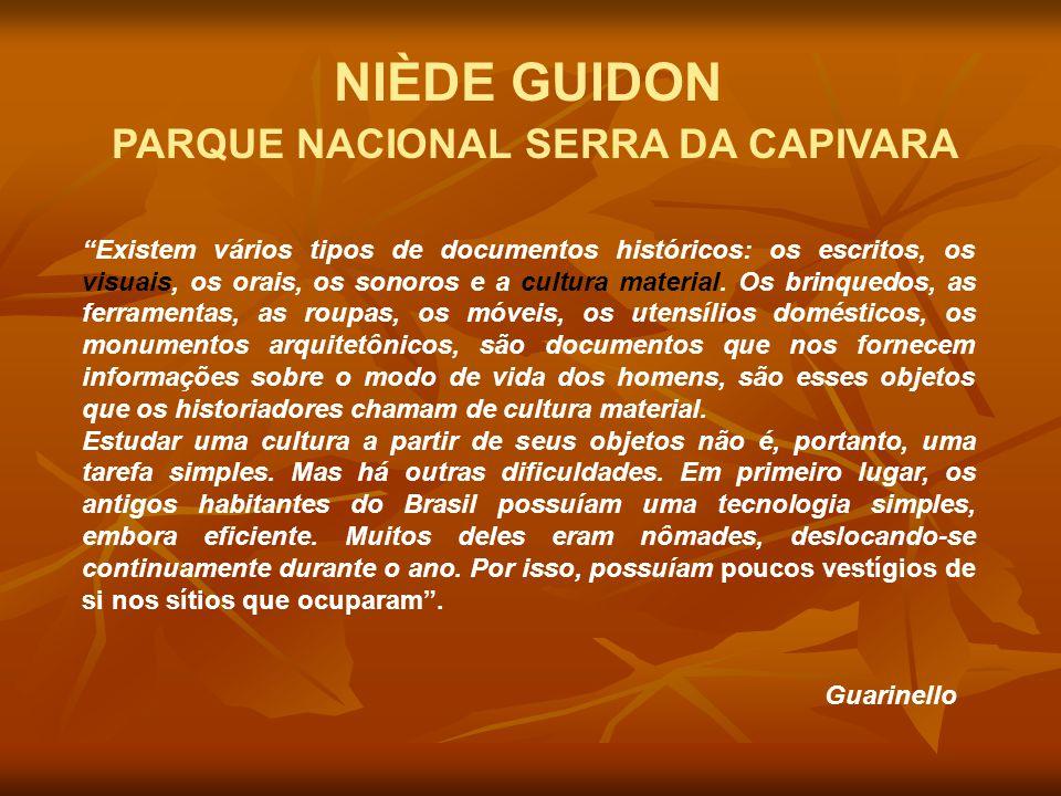 """NIÈDE GUIDON PARQUE NACIONAL SERRA DA CAPIVARA """"Existem vários tipos de documentos históricos: os escritos, os visuais, os orais, os sonoros e a cultu"""