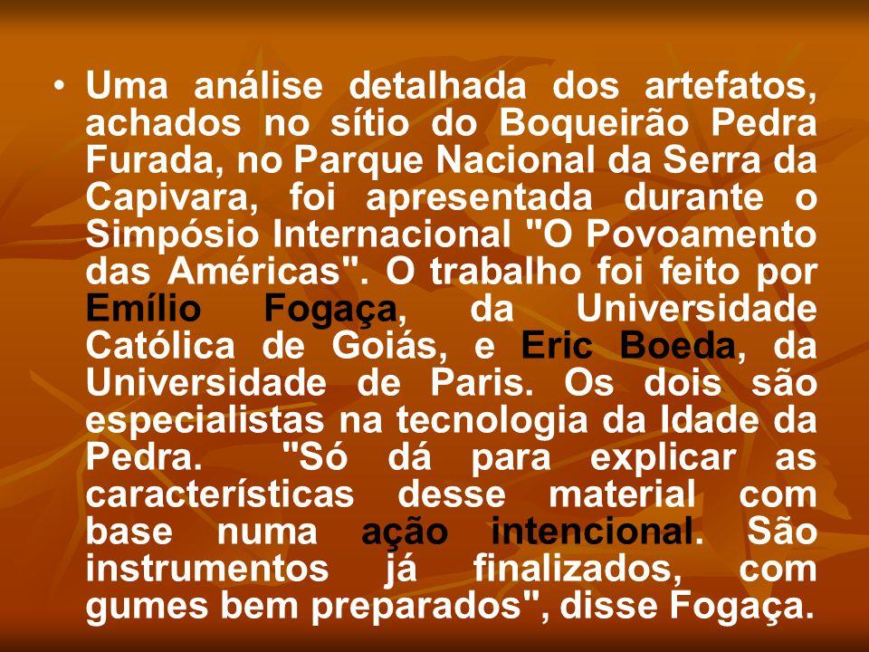 Uma análise detalhada dos artefatos, achados no sítio do Boqueirão Pedra Furada, no Parque Nacional da Serra da Capivara, foi apresentada durante o Si