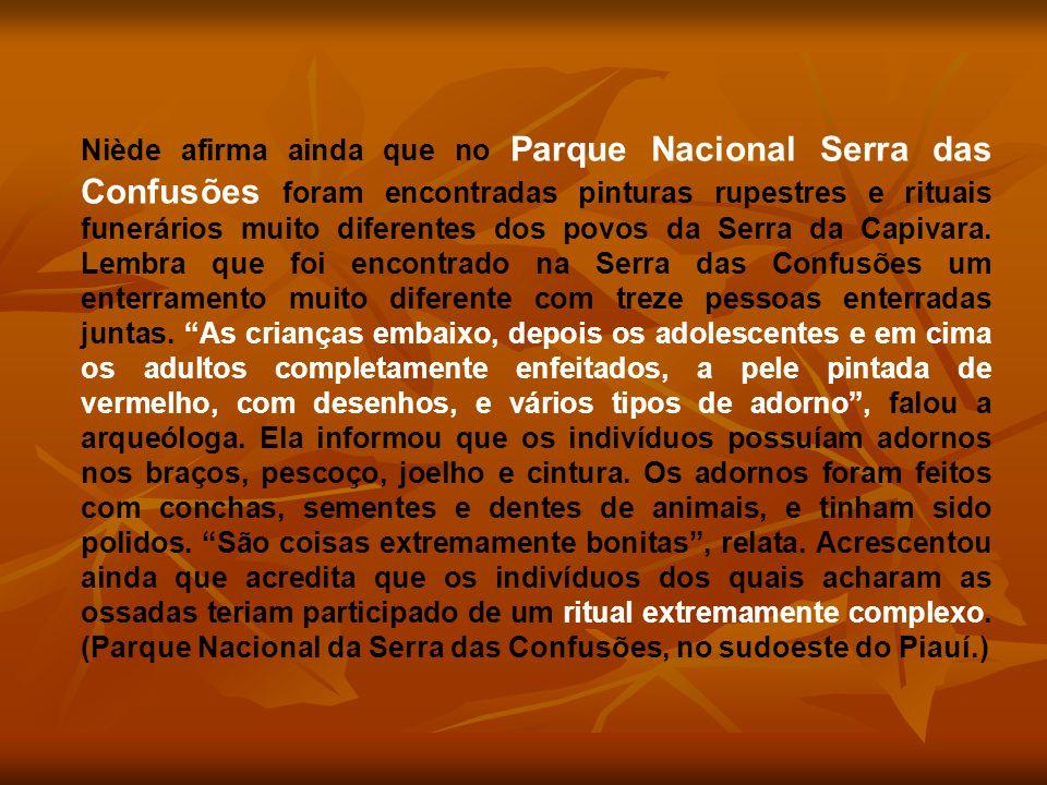 Niède afirma ainda que no Parque Nacional Serra das Confusões foram encontradas pinturas rupestres e rituais funerários muito diferentes dos povos da