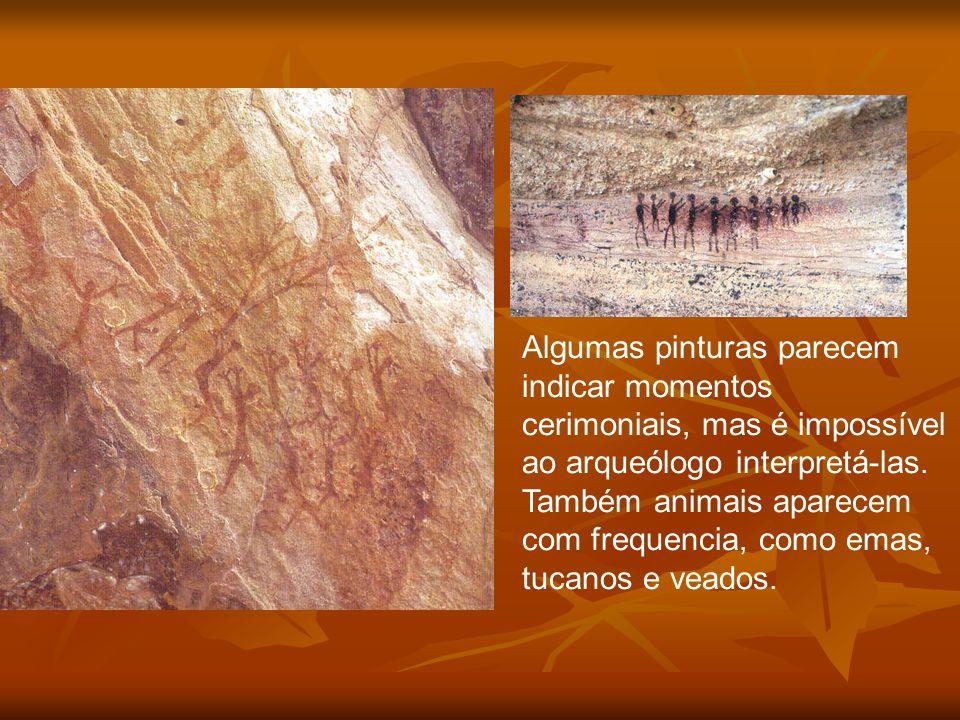 Algumas pinturas parecem indicar momentos cerimoniais, mas é impossível ao arqueólogo interpretá-las. Também animais aparecem com frequencia, como ema