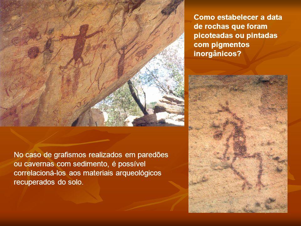 Como estabelecer a data de rochas que foram picoteadas ou pintadas com pigmentos inorgânicos? No caso de grafismos realizados em paredões ou cavernas
