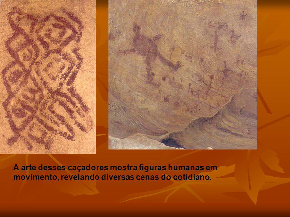A arte desses caçadores mostra figuras humanas em movimento, revelando diversas cenas do cotidiano.
