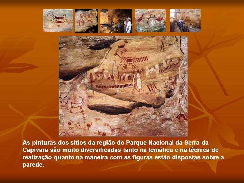 As pinturas dos sítios da região do Parque Nacional da Serra da Capivara são muito diversificadas tanto na temática e na técnica de realização quanto
