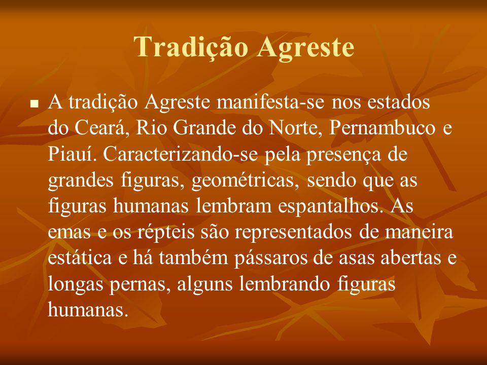 Tradição Agreste A tradição Agreste manifesta-se nos estados do Ceará, Rio Grande do Norte, Pernambuco e Piauí. Caracterizando-se pela presença de gra