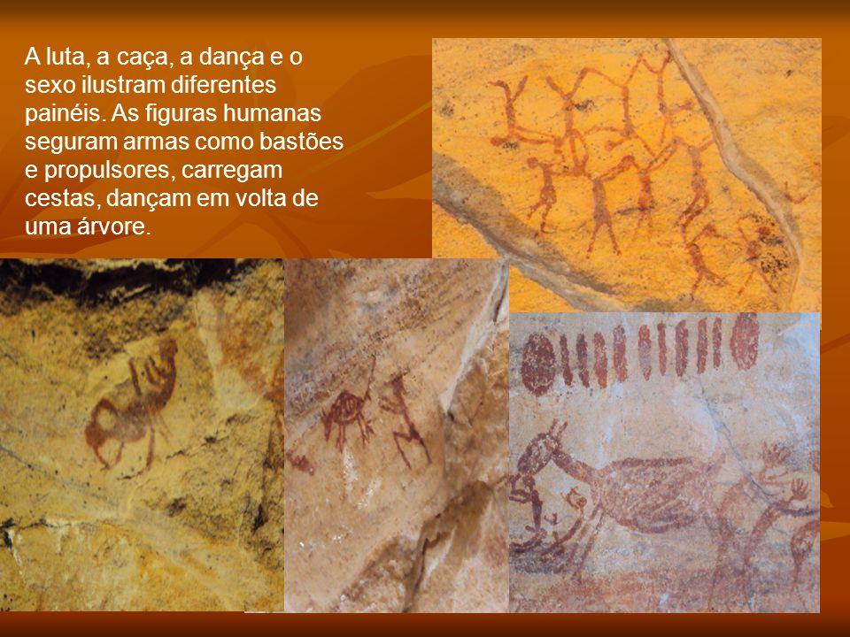 A luta, a caça, a dança e o sexo ilustram diferentes painéis. As figuras humanas seguram armas como bastões e propulsores, carregam cestas, dançam em