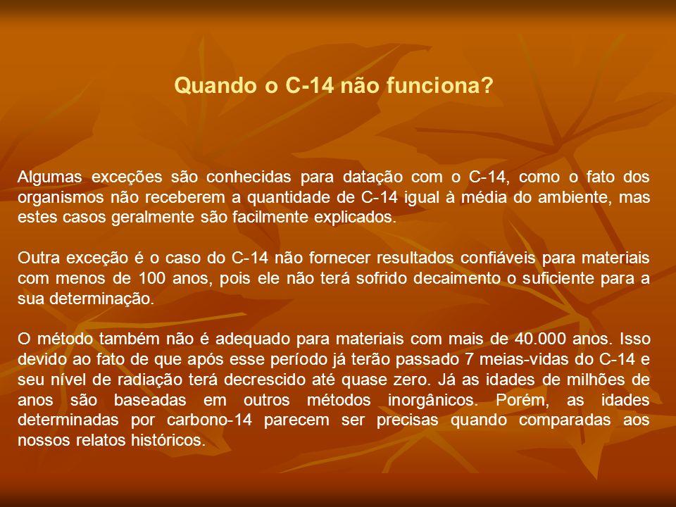 Quando o C-14 não funciona? Algumas exceções são conhecidas para datação com o C-14, como o fato dos organismos não receberem a quantidade de C-14 igu