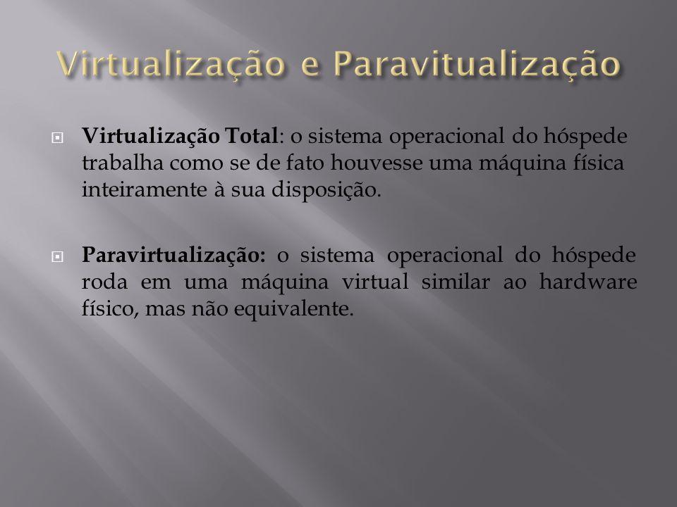  Virtualização Total : o sistema operacional do hóspede trabalha como se de fato houvesse uma máquina física inteiramente à sua disposição.  Paravir