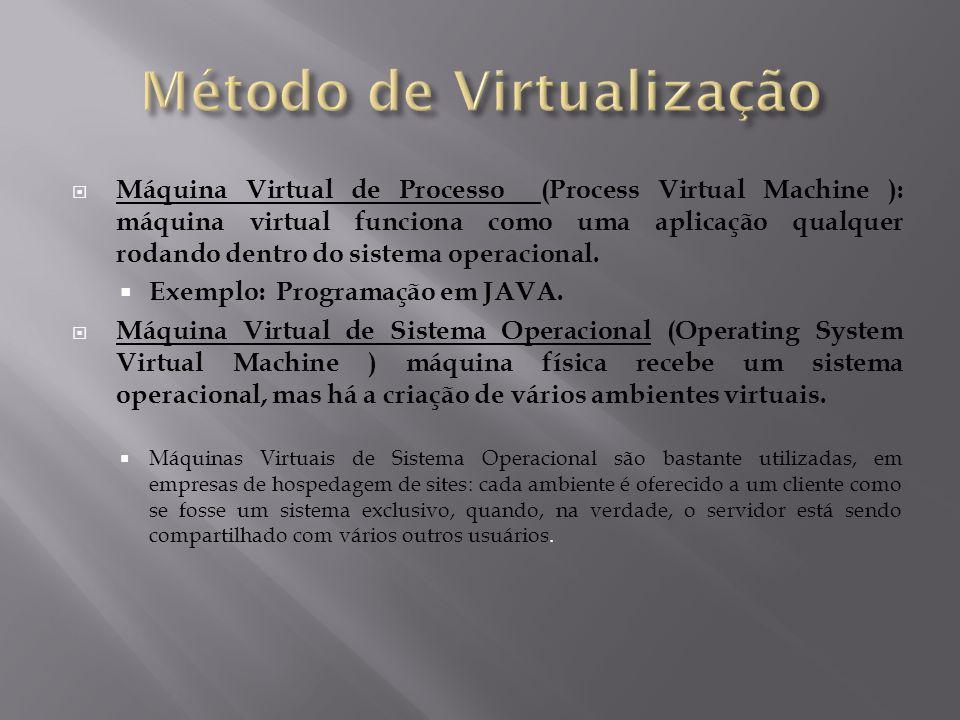  Máquina Virtual de Processo (Process Virtual Machine ): máquina virtual funciona como uma aplicação qualquer rodando dentro do sistema operacional.