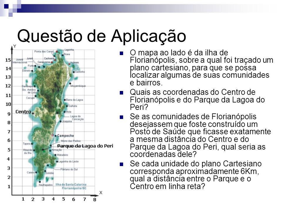 Questão de Aplicação O mapa ao lado é da ilha de Florianópolis, sobre a qual foi traçado um plano cartesiano, para que se possa localizar algumas de suas comunidades e bairros.