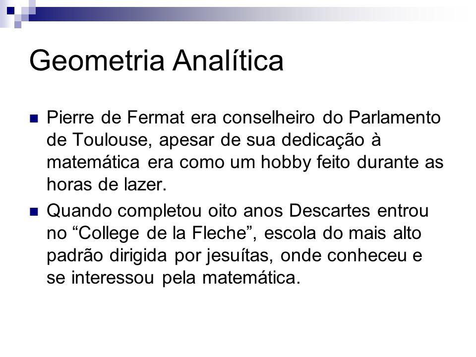 Geometria Analítica Pierre de Fermat era conselheiro do Parlamento de Toulouse, apesar de sua dedicação à matemática era como um hobby feito durante as horas de lazer.