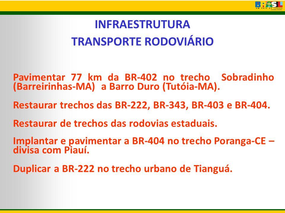 INFRAESTRUTURA TRANSPORTE RODOVIÁRIO Pavimentar 77 km da BR-402 no trecho Sobradinho (Barreirinhas-MA) a Barro Duro (Tutóia-MA). Restaurar trechos das
