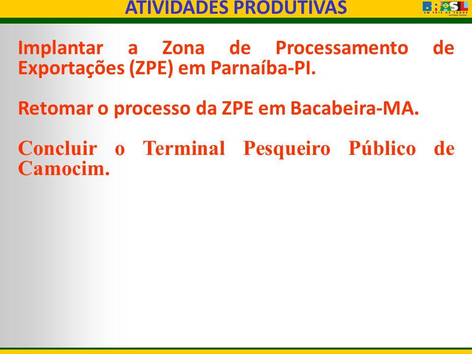 ATIVIDADES PRODUTIVAS Implantar a Zona de Processamento de Exportações (ZPE) em Parnaíba-PI. Retomar o processo da ZPE em Bacabeira-MA. Concluir o Ter