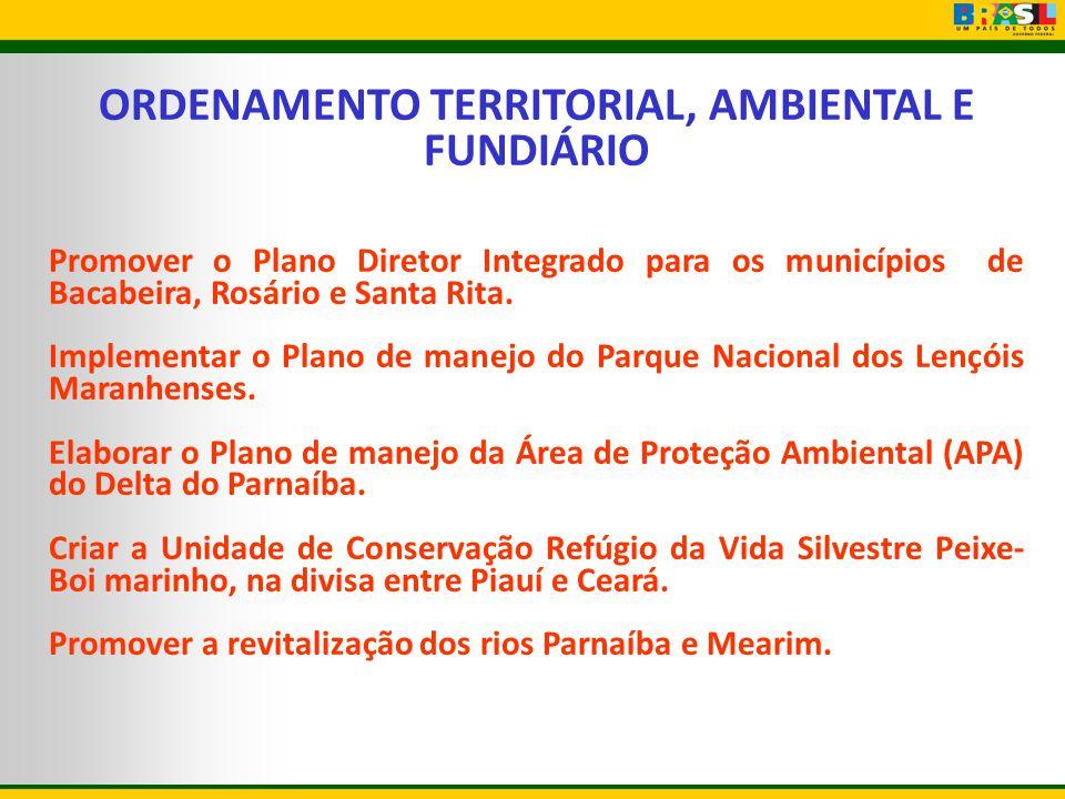 ORDENAMENTO TERRITORIAL, AMBIENTAL E FUNDIÁRIO Promover o Plano Diretor Integrado para os municípios de Bacabeira, Rosário e Santa Rita. Implementar o