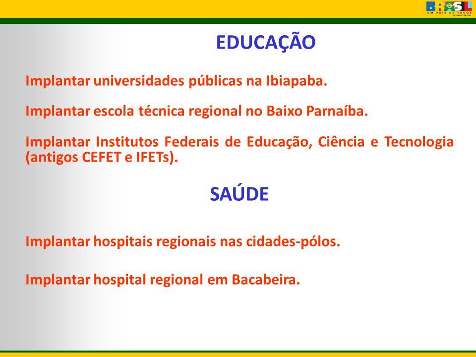EDUCAÇÃO Implantar universidades públicas na Ibiapaba. Implantar escola técnica regional no Baixo Parnaíba. Implantar Institutos Federais de Educação,