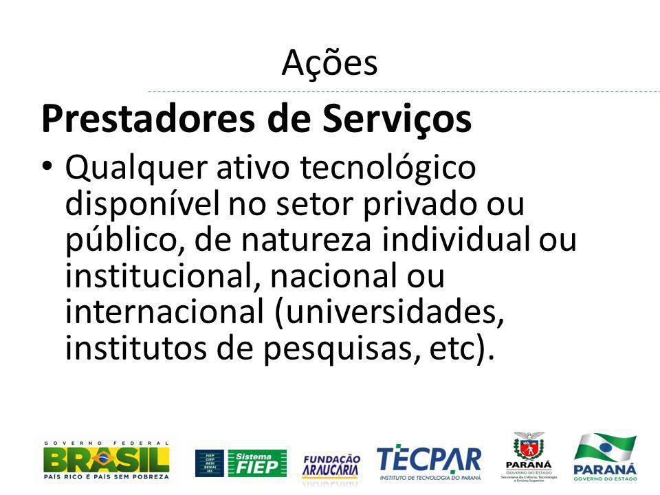 Ações Prestadores de Serviços Qualquer ativo tecnológico disponível no setor privado ou público, de natureza individual ou institucional, nacional ou