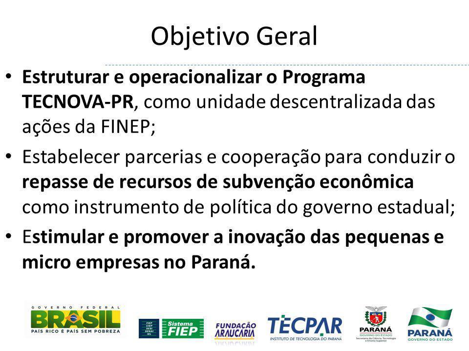 Objetivo Geral Estruturar e operacionalizar o Programa TECNOVA-PR, como unidade descentralizada das ações da FINEP; Estabelecer parcerias e cooperação