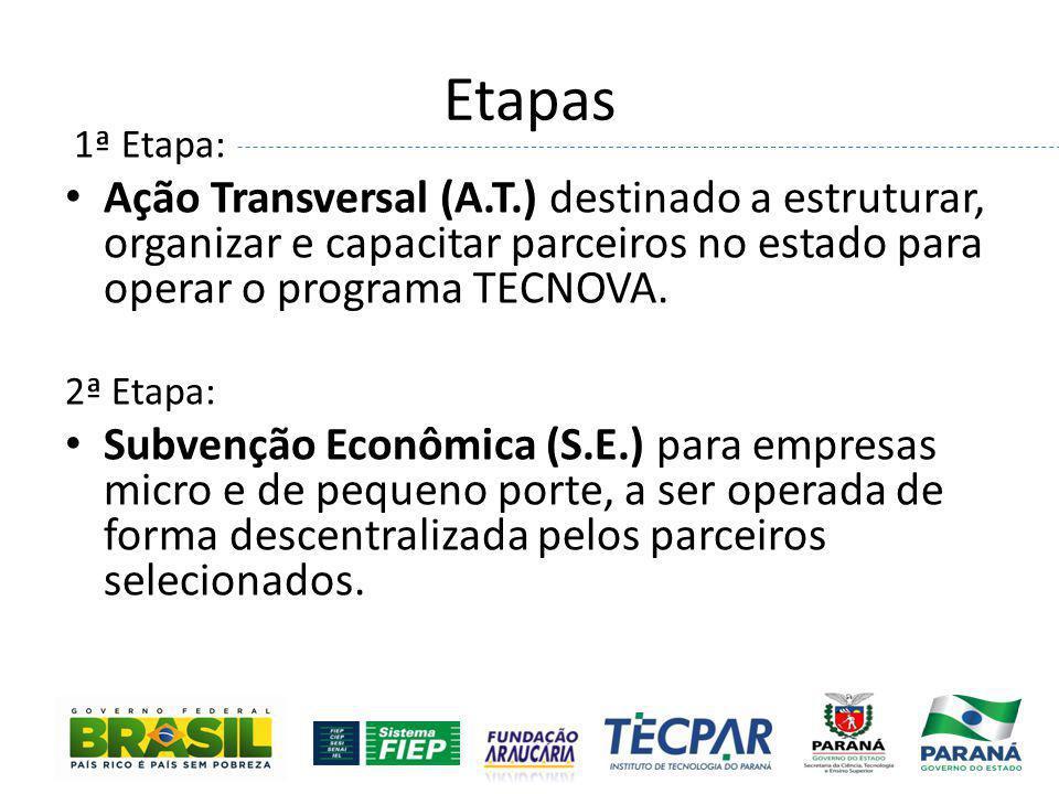 Etapas 1ª Etapa: Ação Transversal (A.T.) destinado a estruturar, organizar e capacitar parceiros no estado para operar o programa TECNOVA. 2ª Etapa: S