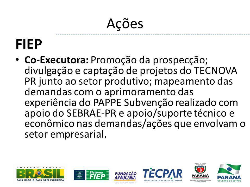 Ações FIEP Co-Executora: Promoção da prospecção; divulgação e captação de projetos do TECNOVA PR junto ao setor produtivo; mapeamento das demandas com