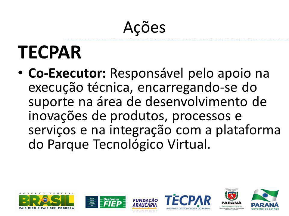 Ações TECPAR Co-Executor: Responsável pelo apoio na execução técnica, encarregando-se do suporte na área de desenvolvimento de inovações de produtos,