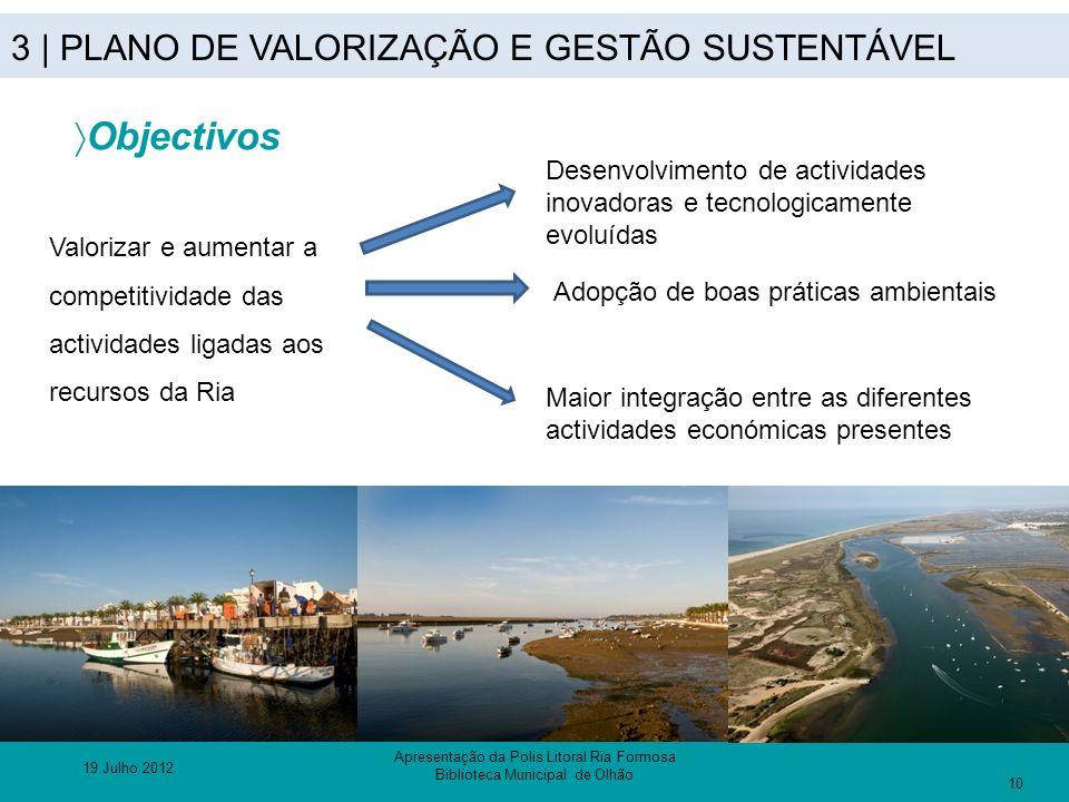 3 | PLANO DE VALORIZAÇÃO E GESTÃO SUSTENTÁVEL  Objectivos Valorizar e aumentar a competitividade das actividades ligadas aos recursos da Ria Desenvol