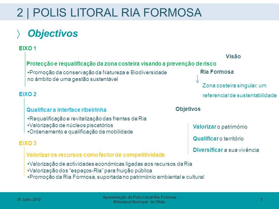 2 | POLIS LITORAL RIA FORMOSA  Objectivos Visão Ria Formosa Zona costeira singular, um referencial de sustentabilidade Objetivos Valorizar o patrimón