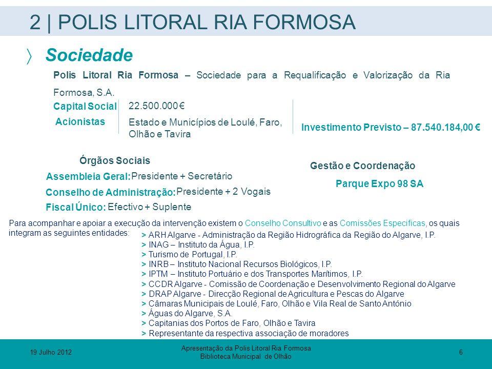 2 | POLIS LITORAL RIA FORMOSA  Sociedade 22.500.000 € Estado e Municípios de Loulé, Faro, Olhão e Tavira Capital Social Acionistas Polis Litoral Ria