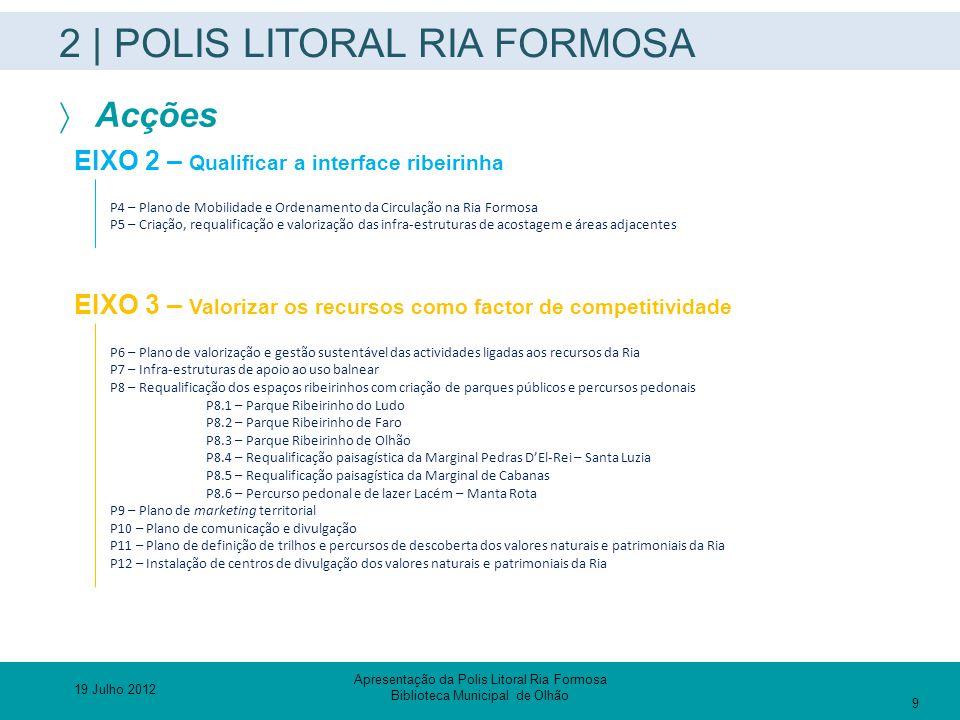 2 | POLIS LITORAL RIA FORMOSA  Acções EIXO 2 – Qualificar a interface ribeirinha P4 – Plano de Mobilidade e Ordenamento da Circulação na Ria Formosa