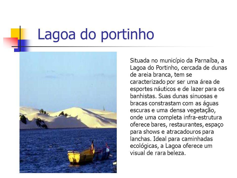Lagoa do portinho Situada no município da Parnaíba, a Lagoa do Portinho, cercada de dunas de areia branca, tem se caracterizado por ser uma área de es