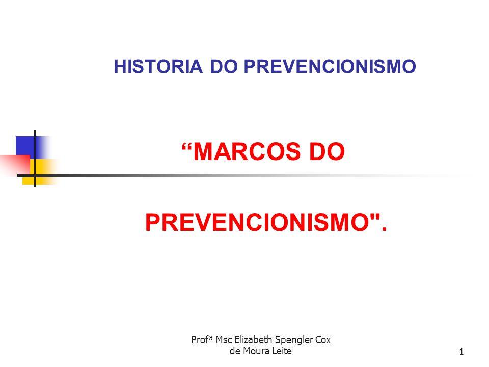 """Profª Msc Elizabeth Spengler Cox de Moura Leite1 HISTORIA DO PREVENCIONISMO """"MARCOS DO PREVENCIONISMO"""