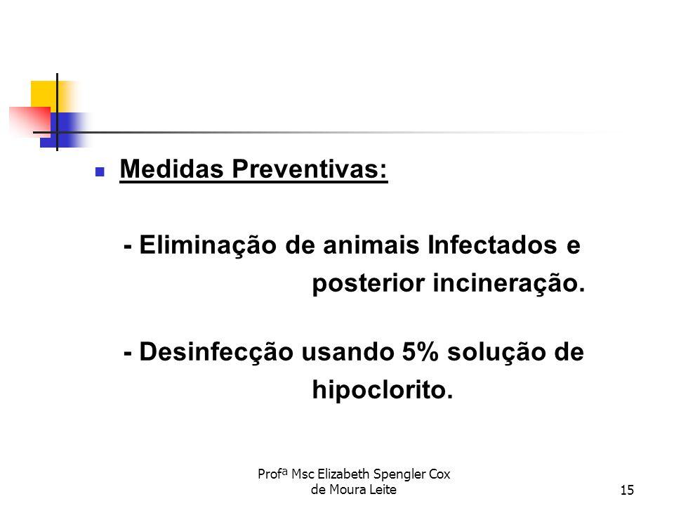 Profª Msc Elizabeth Spengler Cox de Moura Leite15 Medidas Preventivas: - Eliminação de animais Infectados e posterior incineração. - Desinfecção usand