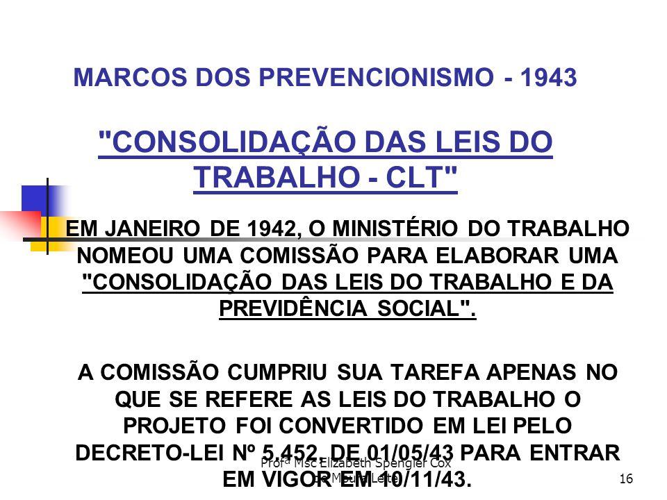 Profª Msc Elizabeth Spengler Cox de Moura Leite16 MARCOS DOS PREVENCIONISMO - 1943