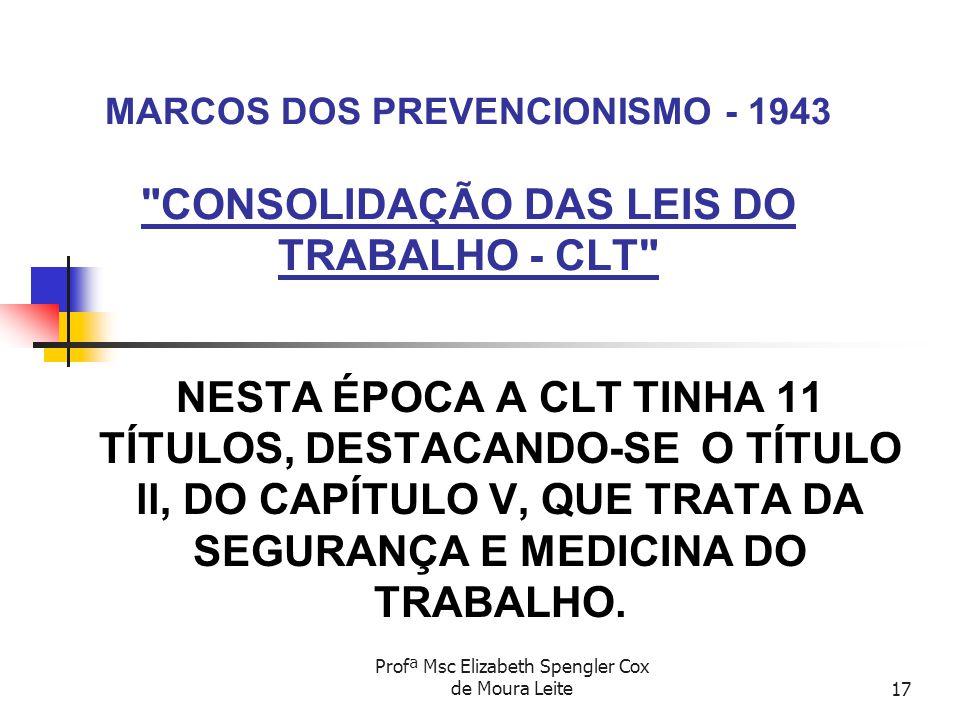 Profª Msc Elizabeth Spengler Cox de Moura Leite17 MARCOS DOS PREVENCIONISMO - 1943