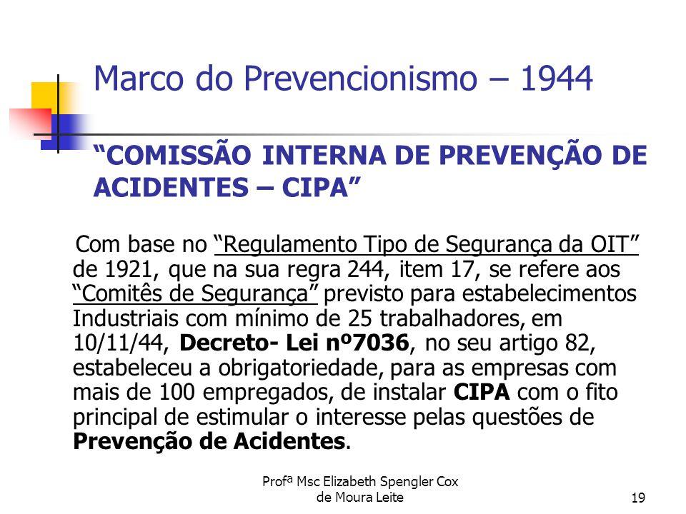 """Profª Msc Elizabeth Spengler Cox de Moura Leite19 Marco do Prevencionismo – 1944 """"COMISSÃO INTERNA DE PREVENÇÃO DE ACIDENTES – CIPA"""" Com base no """"Regu"""