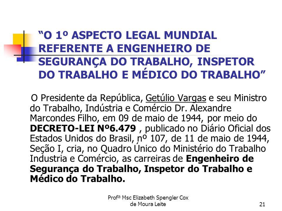 """Profª Msc Elizabeth Spengler Cox de Moura Leite21 """"O 1º ASPECTO LEGAL MUNDIAL REFERENTE A ENGENHEIRO DE SEGURANÇA DO TRABALHO, INSPETOR DO TRABALHO E"""