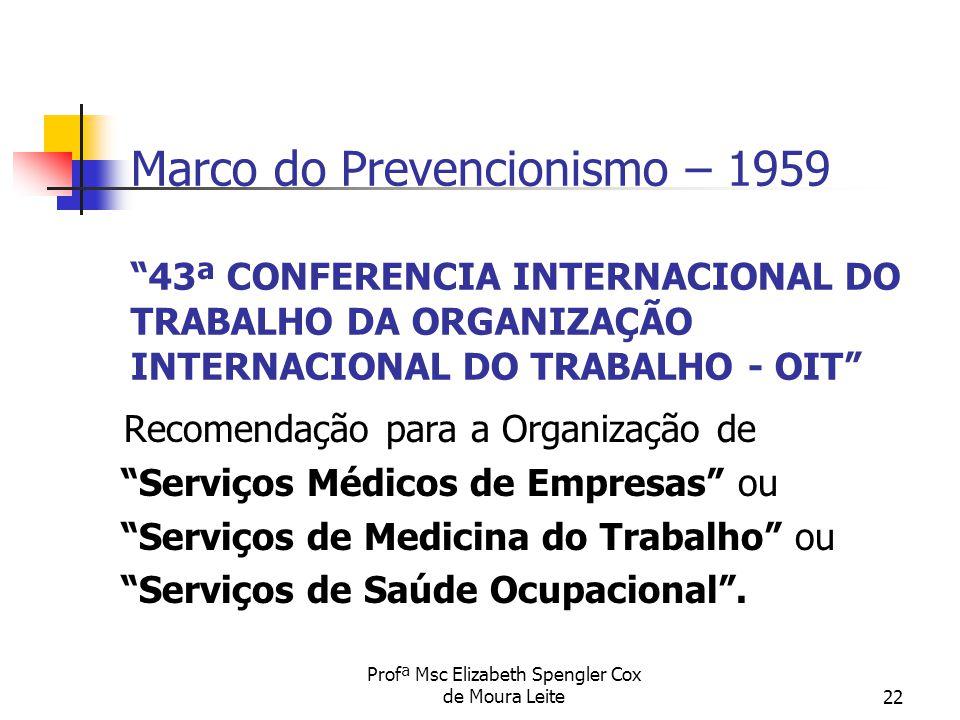"""Profª Msc Elizabeth Spengler Cox de Moura Leite22 Marco do Prevencionismo – 1959 """"43ª CONFERENCIA INTERNACIONAL DO TRABALHO DA ORGANIZAÇÃO INTERNACION"""