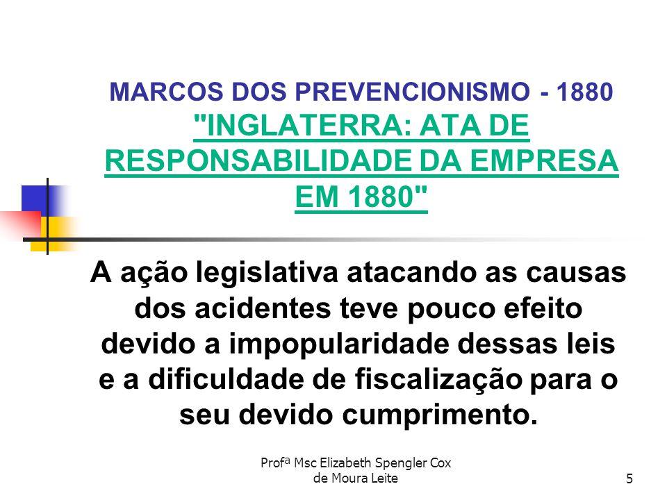 Profª Msc Elizabeth Spengler Cox de Moura Leite16 MARCOS DOS PREVENCIONISMO - 1943 CONSOLIDAÇÃO DAS LEIS DO TRABALHO - CLT EM JANEIRO DE 1942, O MINISTÉRIO DO TRABALHO NOMEOU UMA COMISSÃO PARA ELABORAR UMA CONSOLIDAÇÃO DAS LEIS DO TRABALHO E DA PREVIDÊNCIA SOCIAL .