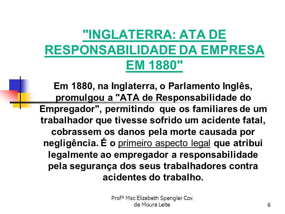 Profª Msc Elizabeth Spengler Cox de Moura Leite7 MARCOS DO PREVENCIONISMO - 1919 CRIAÇÃO DA OIT ORGANIZAÇÃO INTERNACIONAL DO TRABALHO A UNIVERSALIZAÇÃO DAS MEDIDAS TENDENTES A RESGUARDAR A SEGURANÇA E A SAÚDE DO TRABALHADOR, TEVE INÍCIO EM 1919 COM A CRIAÇÃO DA ORGANIZAÇÃO INTERNACIONAL DO TRABALHO COM SEDE EM GENEBRA