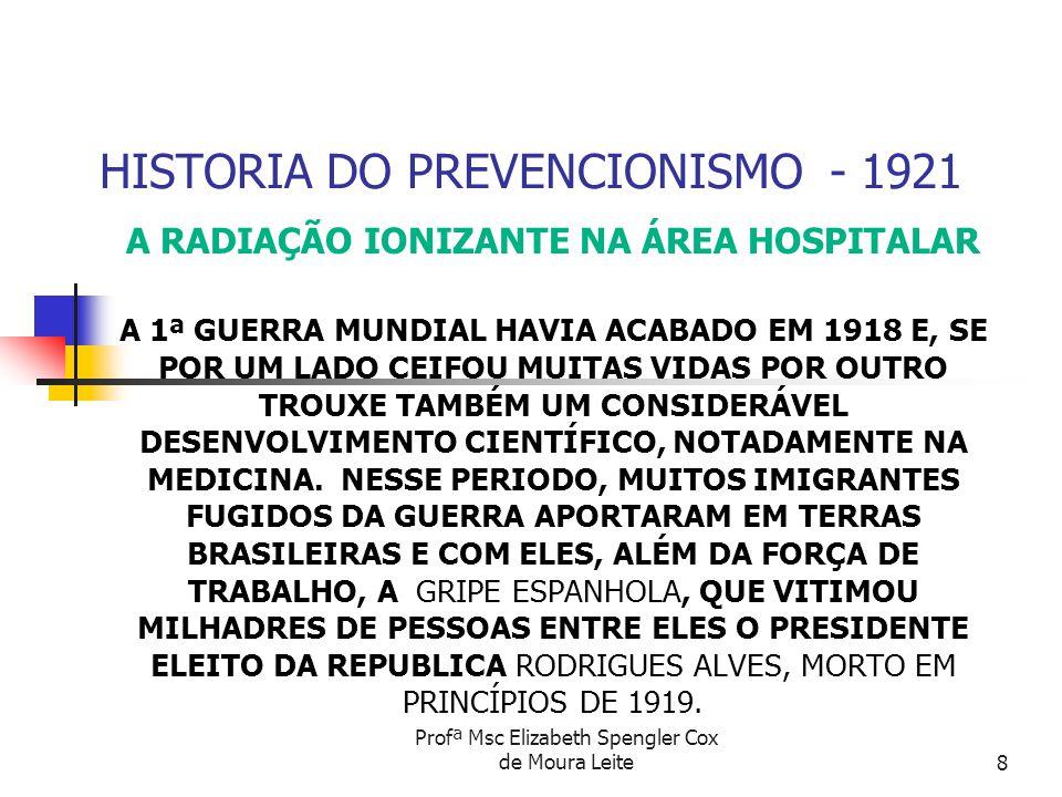 Profª Msc Elizabeth Spengler Cox de Moura Leite8 HISTORIA DO PREVENCIONISMO - 1921 A RADIAÇÃO IONIZANTE NA ÁREA HOSPITALAR A 1ª GUERRA MUNDIAL HAVIA A