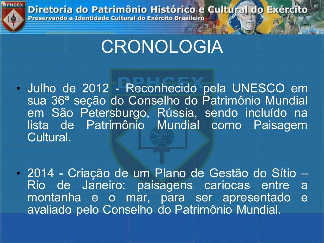CRONOLOGIA Julho de 2012 - Reconhecido pela UNESCO em sua 36ª seção do Conselho do Patrimônio Mundial em São Petersburgo, Rússia, sendo incluído na lista de Patrimônio Mundial como Paisagem Cultural.