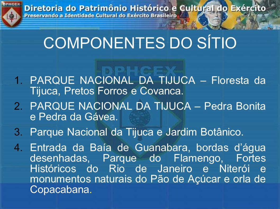 COMPONENTES DO SÍTIO 1.PARQUE NACIONAL DA TIJUCA – Floresta da Tijuca, Pretos Forros e Covanca.
