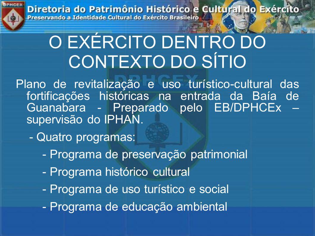 O EXÉRCITO DENTRO DO CONTEXTO DO SÍTIO Plano de revitalização e uso turístico-cultural das fortificações históricas na entrada da Baía de Guanabara - Preparado pelo EB/DPHCEx – supervisão do IPHAN.